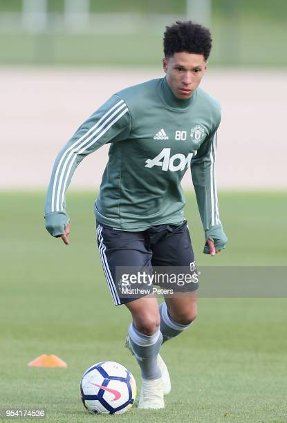 Nishan Burkart of Manchester United U18s in action during an U18s training session at Aon Training Complex on May 2 2018 in Manchester England