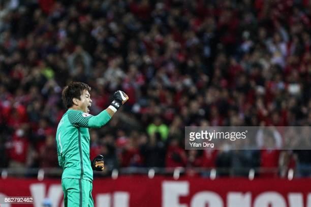 Nishikawa Shusaku celebrates after winning the AFC Champions League semi final second leg match between Urawa Red Diamonds and Shanghai SIPG at...