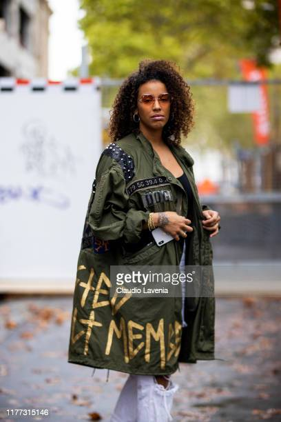 Niska Garoute, wearing Dust of Gods jacket, is seen outside the Faith Connexion show during Paris Fashion Week - Womenswear Spring Summer 2020 on...