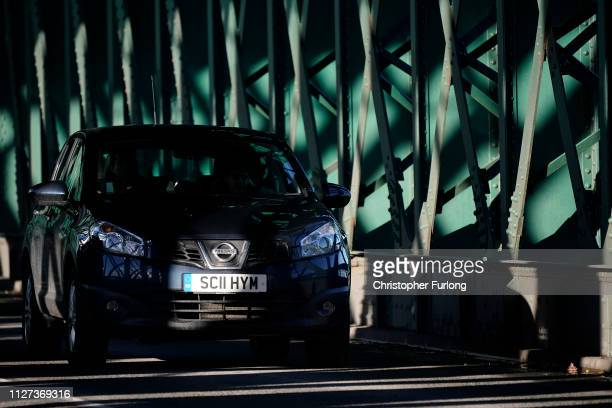 Nissan car drives across the Queen Alexandra Bridge in Sunderland on February 04 2019 in Sunderland England Nissan has announced to workers that the...