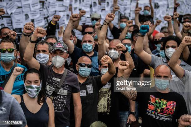 Nissan employees protest outside a Nissan authorized dealer on May 29 2020 in Granollers near Barcelona Spain Nissan announced the closure of its...