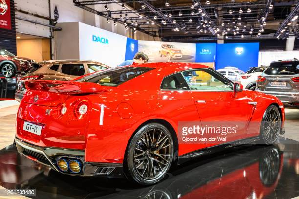 Nissan GTR sports car on display at Brussels Expo on January 8 2020 in Brussels Belgium The GTR is fitted with a 38 L twinturbocharged VR38DETT V6...