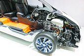 Nissan Leaf electric vehicle cross section