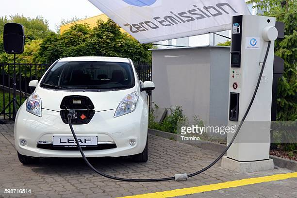 Nissan Leaf on the electric charging point