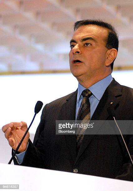 Nissan Motor Co and Renault SA Chief Executive Officer Carlos Ghosn speaks at the Paris Motor Show in Paris France Thursday September 28 2006 Shares...