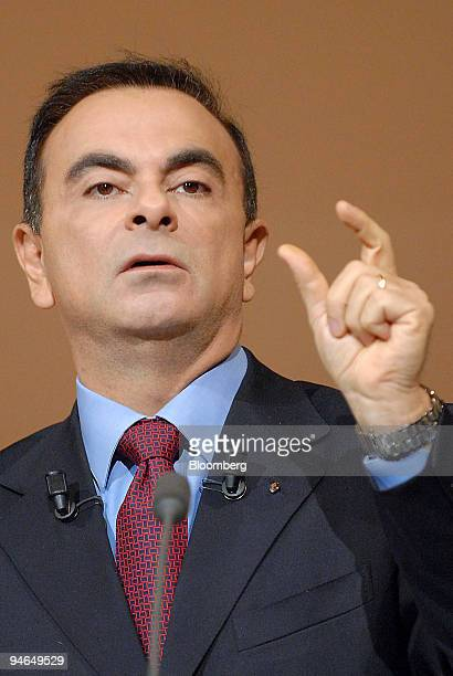 Nissan Motor Co and Renault SA Chief Executive Officer Carlos Ghosn speaks at a news conference in BoulogneBillancourt near Paris France Thursday...