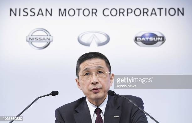 Nissan Motor Co CEO Hiroto Saikawa attends a press conference in Yokohama Japan on Feb 12 after the carmaker released earnings results for the first...