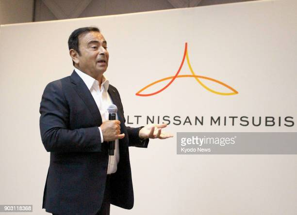Nissan Motor Co Chairman Carlos Ghosn speaks at a press conference in Las Vegas Nevada on Jan 9 2018 Nissan and its alliance partners Renault SA and...