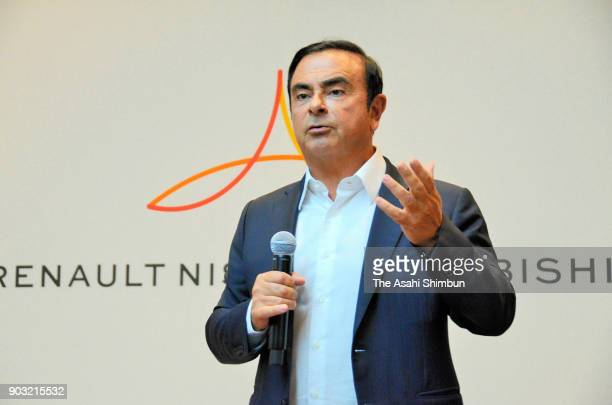 Nissan Motor Co Chairman Carlos Ghosn speaks during a press conference on January 9 2018 in Las Vegas Nevada