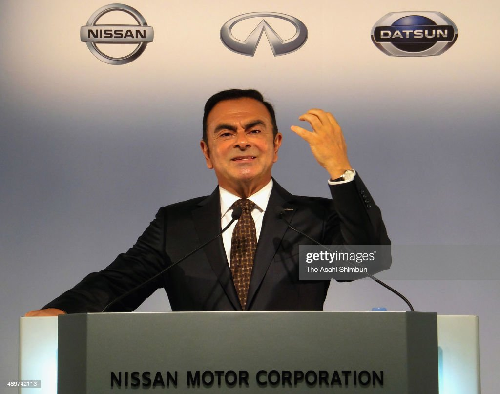 Nissan Motor Co Chairman Carlos Ghosn speaks during a press conference on its financial result of fiscal 2013 at their headquarters on May 12, 2014 in Yokohama, Kanaagwa, Japan.