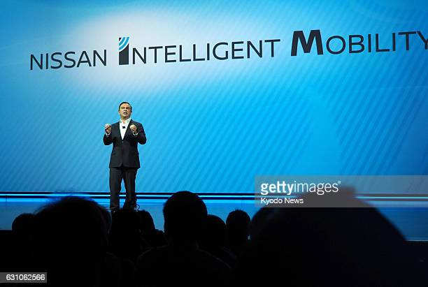 Nissan Motor Co Chief Executive Officer Carlos Ghosn gives a keynote speech at the International Consumer Electronics Show or CES in Las Vegas on Jan...