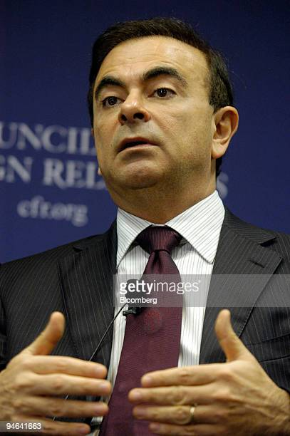 Nissan Motor Co Chief Executive Officer Carlos Ghosn speaks with David Rubenstein cofounder and managing director of The Carlyle Group at the Council...