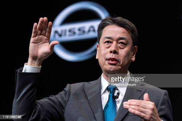 Nissan Motor Co Chief executive officer Makoto Uchida speaks during a press conference on December 2 2019 in Yokohama Japan Uchida took over as CEO...