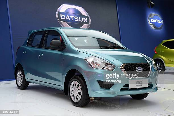 A Nissan Motor Co Datsun Go vehicle stands on display at the company's booth during the Indonesia International Motor Show in Jakarta Indonesia on...