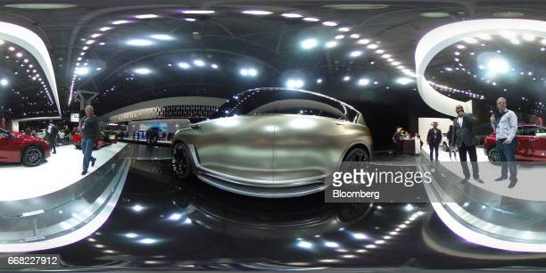A Nissan Motor Co Infiniti brand QX80 Monograph concept sports utility vehicle sits on display during the 2017 New York International Auto Show in...