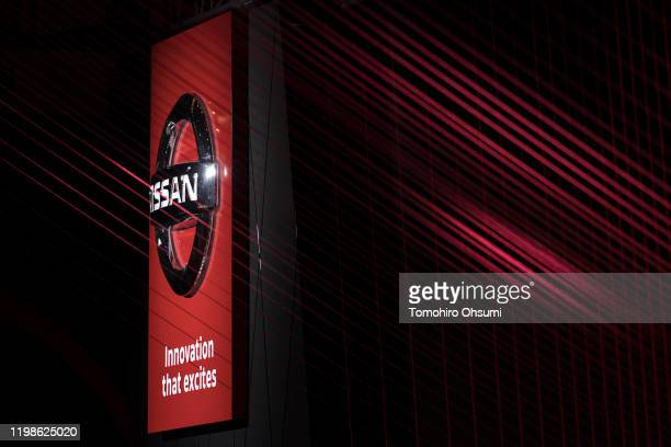 Nissan Motor Co. Logo is seen at the Tokyo Auto Salon 2020 on January 10, 2020 in Chiba, Japan. The motor show for modified and tuned cars will be...