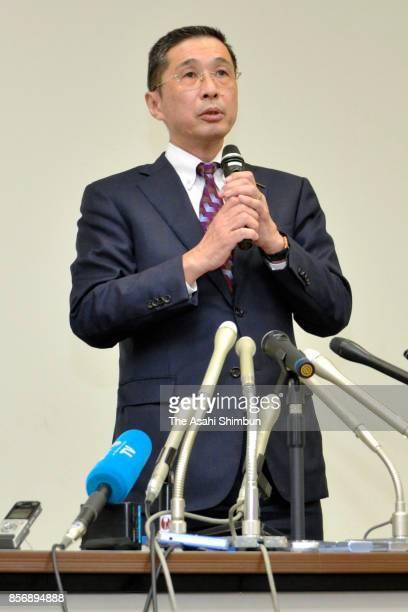 Nissan Motor Co President Hiroto Saikawa speaks during a press conference on October 2 2017 in Yokohama Japan Nissan announced to recall 121 million...