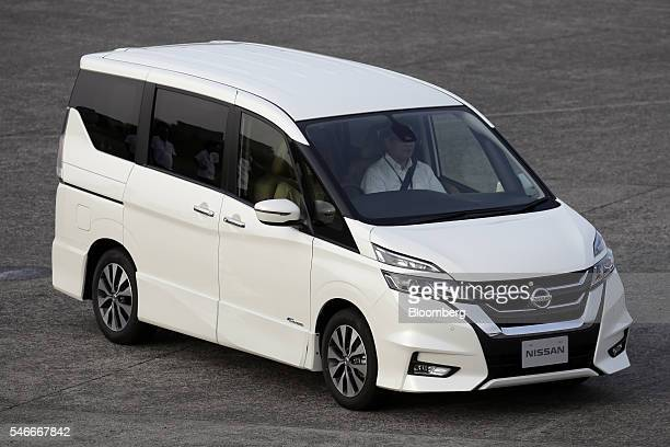 A Nissan Motor Co Serena minivan equipped with the automaker's ProPilot autonomousdrive technology is driven during a test drive at the Oppama...