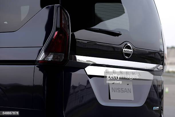 A Nissan Motor Co Serena minivan equipped with the automaker's ProPilot autonomousdrive technology stands on display during a test drive at the...