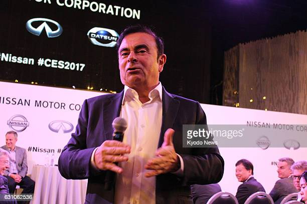 Nissan Motor Co's Chief Executive Officer Carlos Ghosn holds a press conference at the International Consumer Electronics Show in Las Vegas on Jan 5...