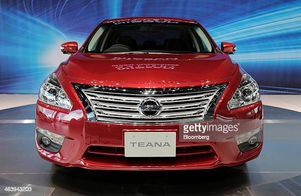Nissan Motor Co's new Teana sedan is displayed during an unveiling at the company's headquarters in Yokohama Japan on Monday Jan 20 2014 Nissan is...