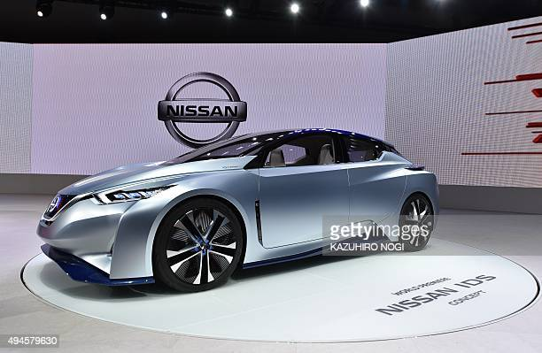 Nissan Motor displays the Nissan IDS Concept car during a press preview at the Tokyo Motor Show 2015 on October 28 2015 The Tokyo Motor Show kicks...
