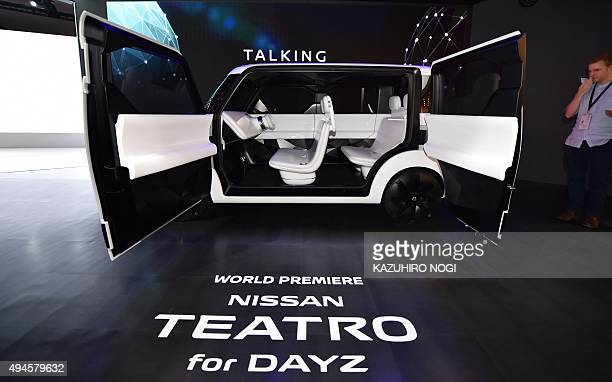 Nissan Motor displays the Nissan Teatro for Dayz vehicle during a press preview at the Tokyo Motor Show 2015 on October 28 2015 The Tokyo Motor Show...