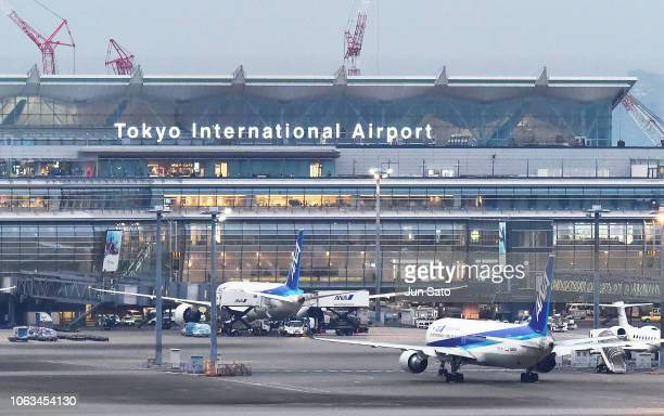 Nissan owned Gulfstream G550 Private jet is seen arriving at Haneda Airport on November 19 2018 in Tokyo Japan A Nissanowned jet arrived at Haneda...