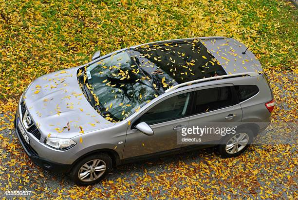 nissan qashqai +2 in autumn - nissan qashqai stock pictures, royalty-free photos & images