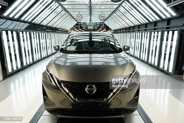 Nissan Qashqai automobile in the inspection area on the production line inside the Nissan Motor Co. Plant in Sunderland, U.K., on Thursday, July 1,...