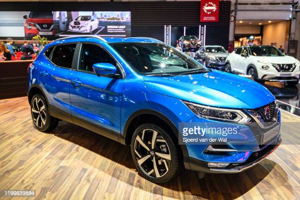 Nissan Qashqai compact crossover SUV on display at Brussels Expo on January 9 2020 in Brussels Belgium The Qashqai or Nissan Rogue Sport is available...