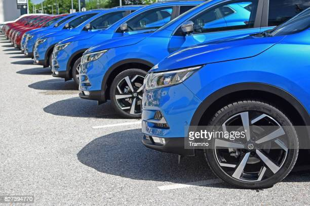 nissan qashqai vehicles on the parking - nissan qashqai stock pictures, royalty-free photos & images