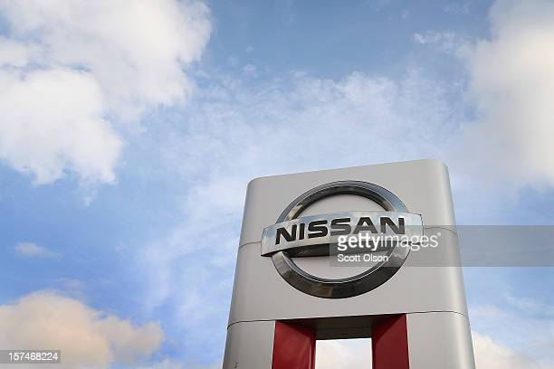 Nissan sign towers above the Star Nissan dealership on December 3 2012 in Niles Illinois Nissan Motor Co Ltd today reported a 13 percent increase in...