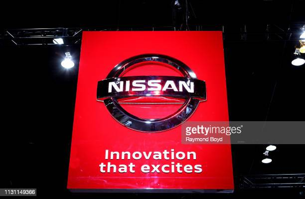 Nissan signage is on display at the 111th Annual Chicago Auto Show at McCormick Place in Chicago, Illinois on February 8, 2019.