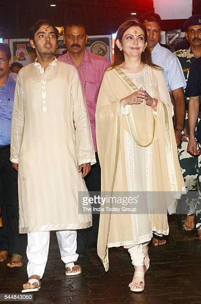 Nita Ambani and Anant Ambani at Siddhivinayak Temple in Mumbai