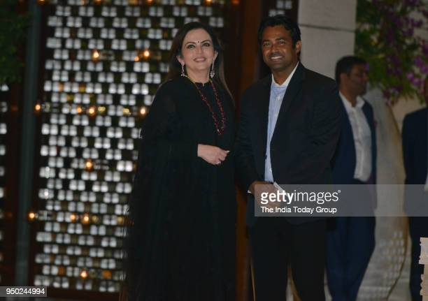 Nita Ambani and Leander Paes during the dinner party hosted by Nita Ambani for Thomas Bach President of international Olympic Committee in Mumbai