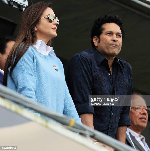 Nita Ambani and Sachin Tendulkar watch from the stands during the ICC Champions Trophy match between India and Pakistan at Edgbaston on June 4 2017...
