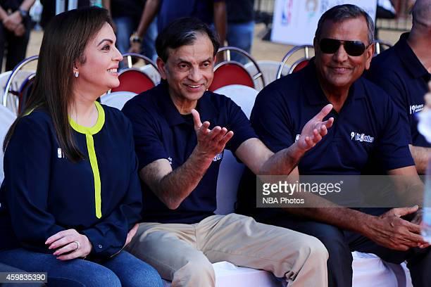 Nita Ambani Founder Chairman of Reliance Foundation Vivek Ranadive Raj Bhathal owner of the Sacramento Kings during the Reliance Foundation Jr NBA...