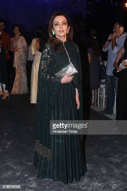 Nita Ambani Indian businesswoman philanthropist and a wife of industrialist Mukesh Ambani during the opening show of Lakme Fashion Week Summer/Resort...