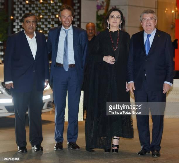 Nita Ambani Mukesh AmbaniThomas Bach during the dinner party hosted by Nita Ambani for Thomas Bach President of international Olympic Committee in...