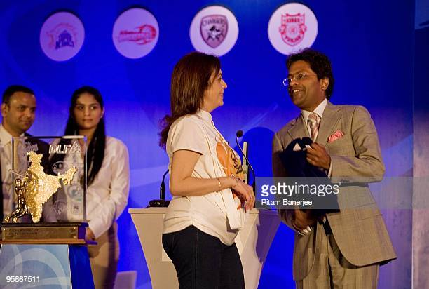 Nita Ambani owner of the Mumbai Indians and Lalit Modi chairman and commissioner attend the Indian Premier League auction 2010 on January 19 2010 in...
