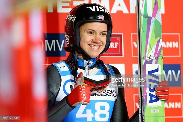 Nita Englund of USA smiles during day two of the Women Ski Jumping World Cup event at SchattenbergSchanze Erdinger Arena on January 25 2015 in...