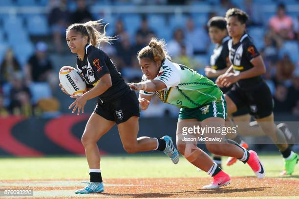 Nita Maynard of New Zealand runs with the ball during the 2017 Women's Rugby League World Cup match between New Zealand and Cook Islands at Southern...