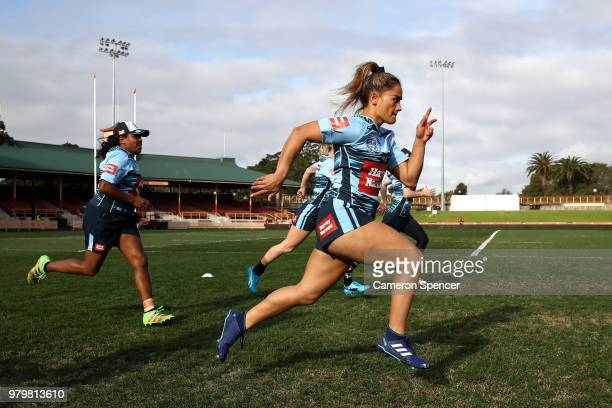 Nita Maynard of the Blues warms up during the New South Wales women's State of Origin captain's run at North Sydney Oval on June 21 2018 in Sydney...