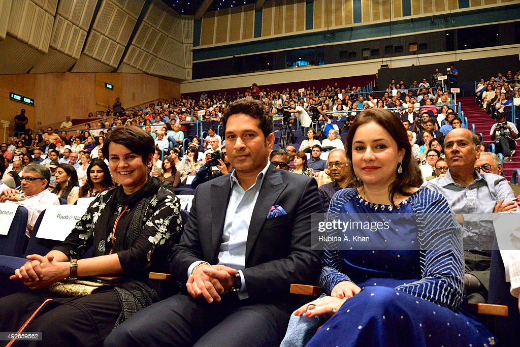 Nita Pandey, Sachin Tendulkar and his wife Anjali, at the launch of Piyush Pandey's book, Pandeymonium, at the Jamshed Bhabha Theatre (NCPA) on October 14, 2015 in Mumbai, India.
