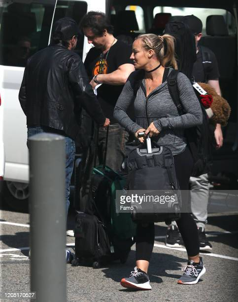 Nita Strauss is seen leaving Perth Airport with Alicd Cooper and rest of the band in Perth on February 10 in Perth, Australia.