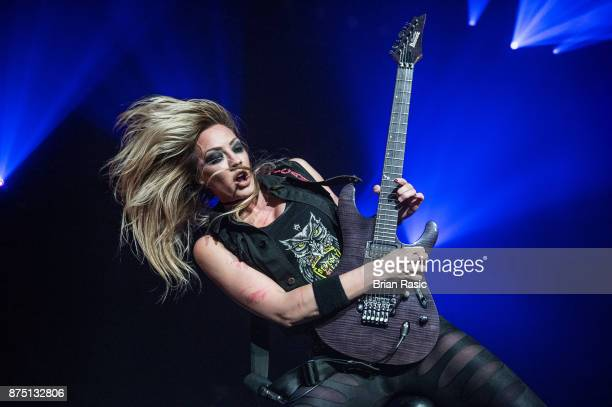 Nita Strauss of Alice Cooper band performs at Wembley Arena on November 16, 2017 in London, England.