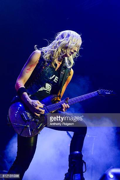Nita Strauss of Alice Cooper performs onstage at Moda Center in Portland Oregon USA on 15th December 2015