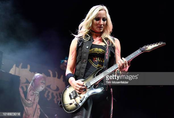 Nita Strauss of Alice Cooper's band performs during his Paranormal tour at City National Civic on August 14 2018 in San Jose California