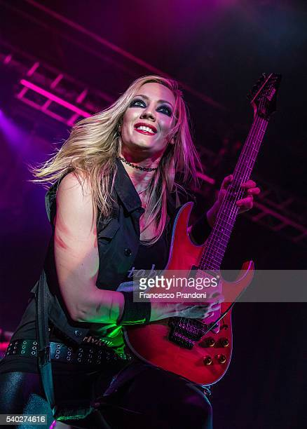Nita Strauss of Alice Cooper's band performs in Milan on June 14, 2016 in Milan, Italy.